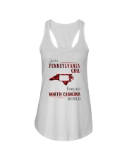 PENNSYLVANIA GIRL LIVING IN NORTH CAROLINA WORLD Ladies Flowy Tank tile