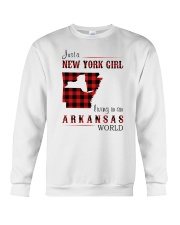 NEW YORK GIRL LIVING IN ARKANSAS WORLD Crewneck Sweatshirt thumbnail
