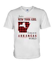 NEW YORK GIRL LIVING IN ARKANSAS WORLD V-Neck T-Shirt thumbnail