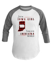 IOWA GIRL LIVING IN INDIANA WORLD Baseball Tee thumbnail