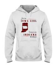 IOWA GIRL LIVING IN INDIANA WORLD Hooded Sweatshirt thumbnail