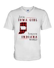 IOWA GIRL LIVING IN INDIANA WORLD V-Neck T-Shirt thumbnail