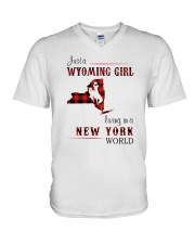 WYOMING GIRL LIVING IN NEW YORK WORLD V-Neck T-Shirt thumbnail