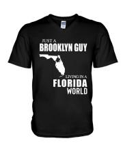 JUST A BROOKLYN GUY LIVING IN FLORIDA WORLD V-Neck T-Shirt thumbnail