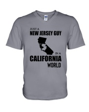 JUST A NEW JERSEY GUY IN A CALIFORNIA WORLD V-Neck T-Shirt thumbnail