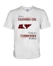 CALIFORNIA GIRL LIVING IN TENNESSEE WORLD V-Neck T-Shirt thumbnail