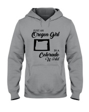 JUST AN OREGON GIRL IN A COLORADO WORLD Hooded Sweatshirt thumbnail