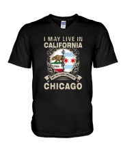 I MAY LIVE IN CALIFORNIA BUT MY STORY IN CHICAGO V-Neck T-Shirt thumbnail