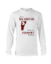 NEW JERSEY GIRL LIVING IN VERMONT WORLD Long Sleeve Tee thumbnail