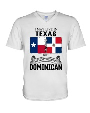 LIVE IN TEXAS BEGAN IN DOMINICAN ROOT WOMEN V-Neck T-Shirt thumbnail
