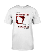 WISCONSIN GIRL LIVING IN ARKANSAS WORLD Classic T-Shirt thumbnail