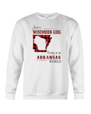 WISCONSIN GIRL LIVING IN ARKANSAS WORLD Crewneck Sweatshirt thumbnail