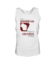WISCONSIN GIRL LIVING IN ARKANSAS WORLD Unisex Tank tile