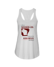 WISCONSIN GIRL LIVING IN ARKANSAS WORLD Ladies Flowy Tank thumbnail