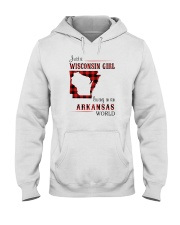 WISCONSIN GIRL LIVING IN ARKANSAS WORLD Hooded Sweatshirt thumbnail