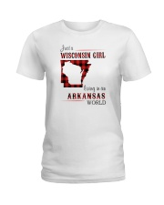 WISCONSIN GIRL LIVING IN ARKANSAS WORLD Ladies T-Shirt tile
