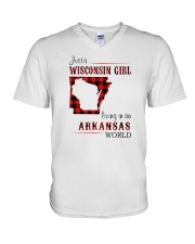 WISCONSIN GIRL LIVING IN ARKANSAS WORLD V-Neck T-Shirt thumbnail