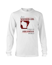 WISCONSIN GIRL LIVING IN ARKANSAS WORLD Long Sleeve Tee tile