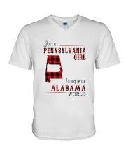 PENNSYLVANIA GIRL LIVING IN ALABAMA WORLD V-Neck T-Shirt thumbnail