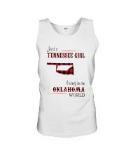 TENNESSEE GIRL LIVING IN OKLAHOMA WORLD Unisex Tank thumbnail