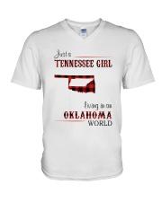 TENNESSEE GIRL LIVING IN OKLAHOMA WORLD V-Neck T-Shirt thumbnail