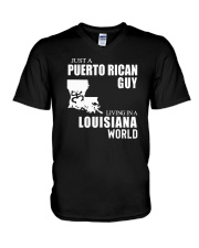 JUST A PUERTO RICAN GUY LIVING IN LOUISIANA WORLD V-Neck T-Shirt thumbnail