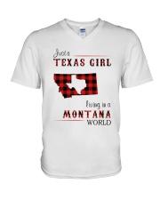 TEXAS GIRL LIVING IN MONTANA WORLD V-Neck T-Shirt thumbnail