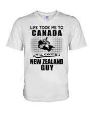 NEW ZEALAND GUY LIFE TOOK TO CANADA V-Neck T-Shirt tile