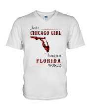 CHICAGO GIRL LIVING IN FLORIDA WORLD V-Neck T-Shirt thumbnail