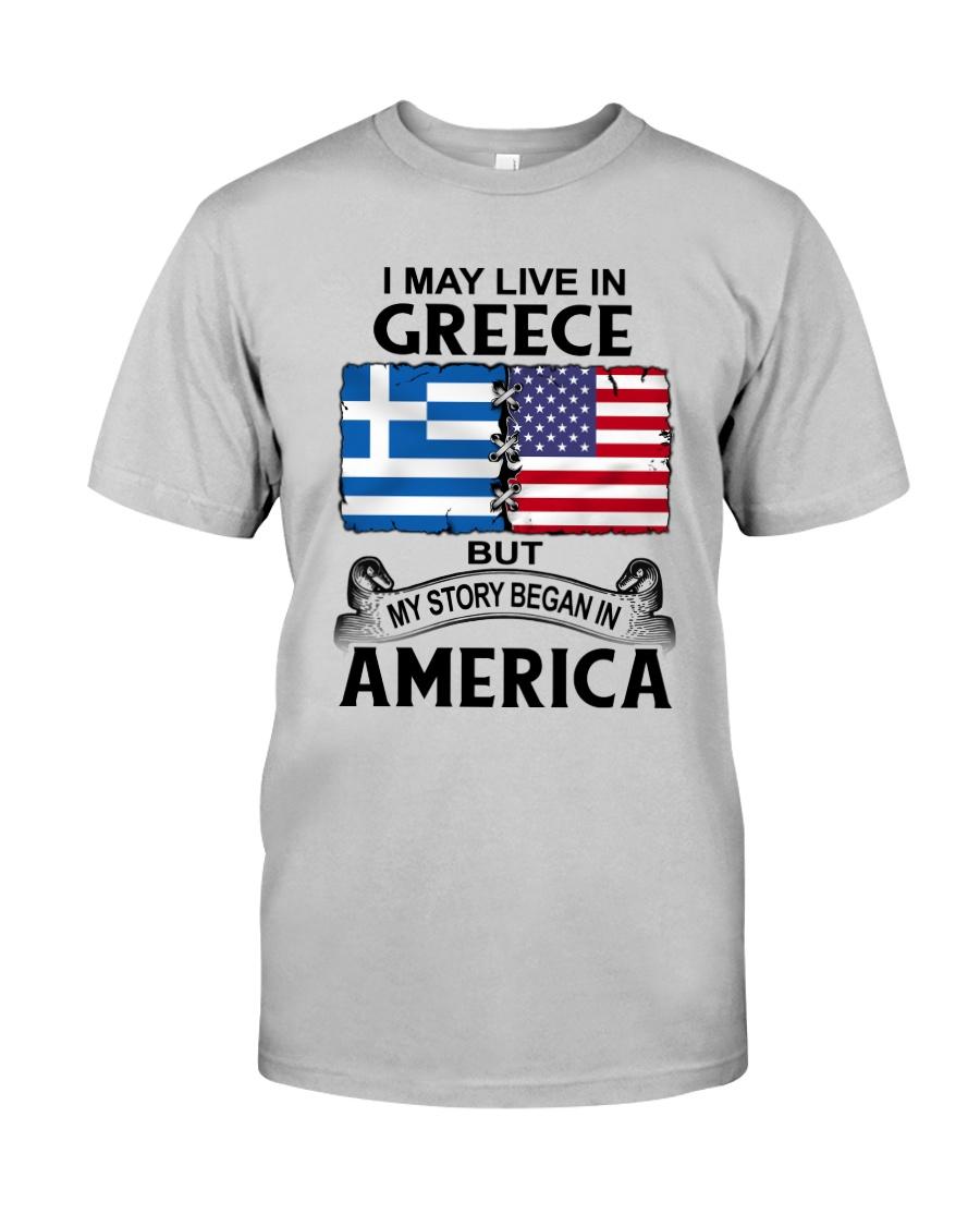 LIVE IN GREECE BEGAN IN AMERICA ROOT WOMEN Classic T-Shirt