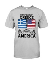 LIVE IN GREECE BEGAN IN AMERICA ROOT WOMEN Classic T-Shirt front
