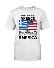 LIVE IN GREECE BEGAN IN AMERICA ROOT WOMEN Classic T-Shirt tile