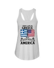 LIVE IN GREECE BEGAN IN AMERICA ROOT WOMEN Ladies Flowy Tank thumbnail
