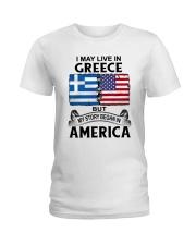 LIVE IN GREECE BEGAN IN AMERICA ROOT WOMEN Ladies T-Shirt thumbnail
