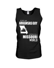 JUST AN ARKANSAS GUY LIVING IN MISSOURI WORLD Unisex Tank thumbnail