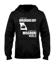 JUST AN ARKANSAS GUY LIVING IN MISSOURI WORLD Hooded Sweatshirt thumbnail