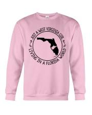WEST VIRGINIA GIRL LIVING IN FLORIDA WORLD Crewneck Sweatshirt thumbnail