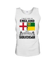 LIVE IN ENGLAND BEGAN IN SASKATCHEWAN ROOT Unisex Tank thumbnail