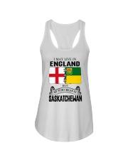 LIVE IN ENGLAND BEGAN IN SASKATCHEWAN ROOT Ladies Flowy Tank thumbnail