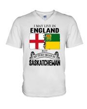 LIVE IN ENGLAND BEGAN IN SASKATCHEWAN ROOT V-Neck T-Shirt thumbnail