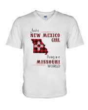 NEW MEXICO GIRL LIVING IN MISSOURI WORLD V-Neck T-Shirt thumbnail