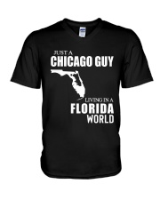 JUST A CHICAGO GUY LIVING IN FLORIDA WORLD V-Neck T-Shirt thumbnail