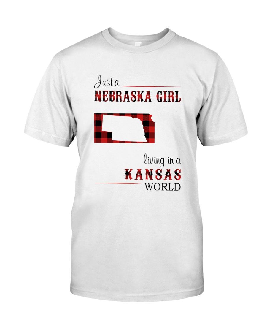 NEBRASKA GIRL LIVING IN KANSAS WORLD Classic T-Shirt