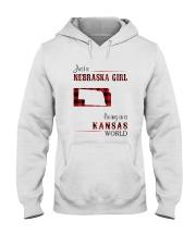 NEBRASKA GIRL LIVING IN KANSAS WORLD Hooded Sweatshirt thumbnail