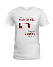 NEBRASKA GIRL LIVING IN KANSAS WORLD Ladies T-Shirt thumbnail