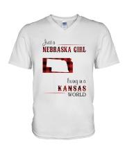NEBRASKA GIRL LIVING IN KANSAS WORLD V-Neck T-Shirt thumbnail