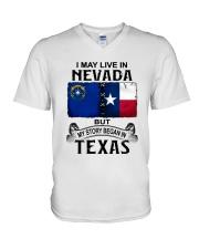 LIVE IN NEVADA BEGAN IN TEXAS V-Neck T-Shirt thumbnail