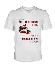 SOUTH AFRICAN GIRL LIVING IN CANADIAN  WORLD V-Neck T-Shirt thumbnail