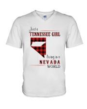TENNESSEE GIRL LIVING IN NEVADA WORLD V-Neck T-Shirt thumbnail