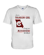 COLORADO GIRL LIVING IN MISSOURI WORLD V-Neck T-Shirt thumbnail